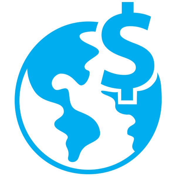 Icon of a globe with a dollar sign